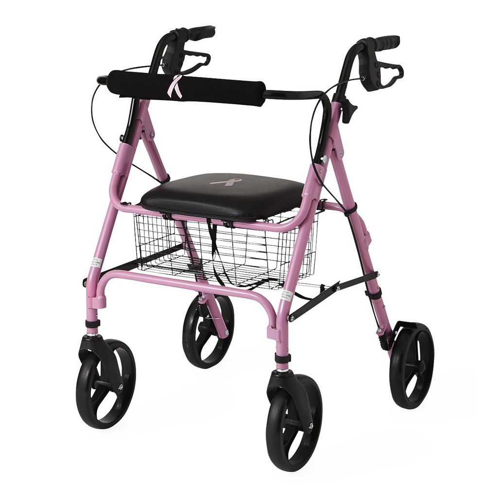 Medline Aluminum Lightweight Folding 4-Wheel Rollator in Pink
