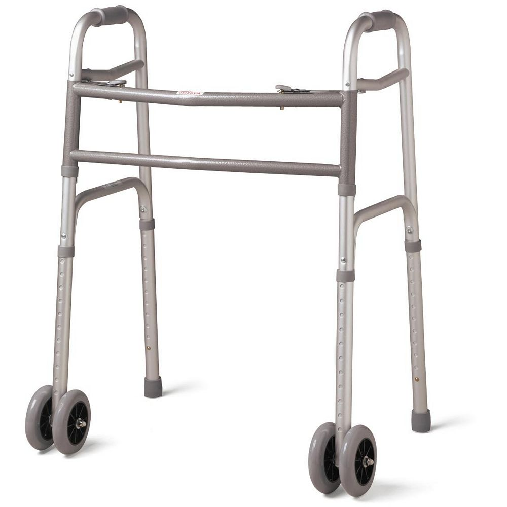 Medline 2-Button Folding Walker, Bariatric