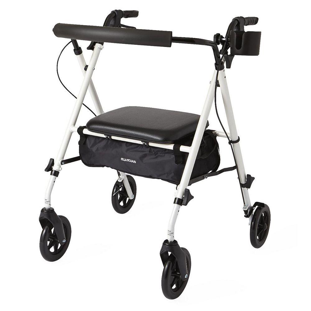 Medline Luxe Lightweight Folding Comfort 4-Wheel Rollator in White