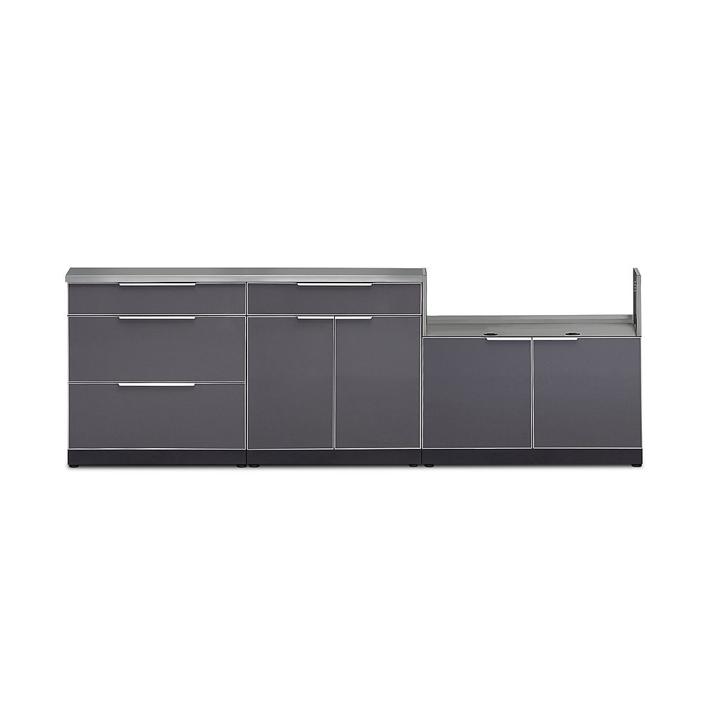 NewAge Products Inc. Outdoor Kitchen 4-Piece Cabinet Set in Slate Gray with Covers