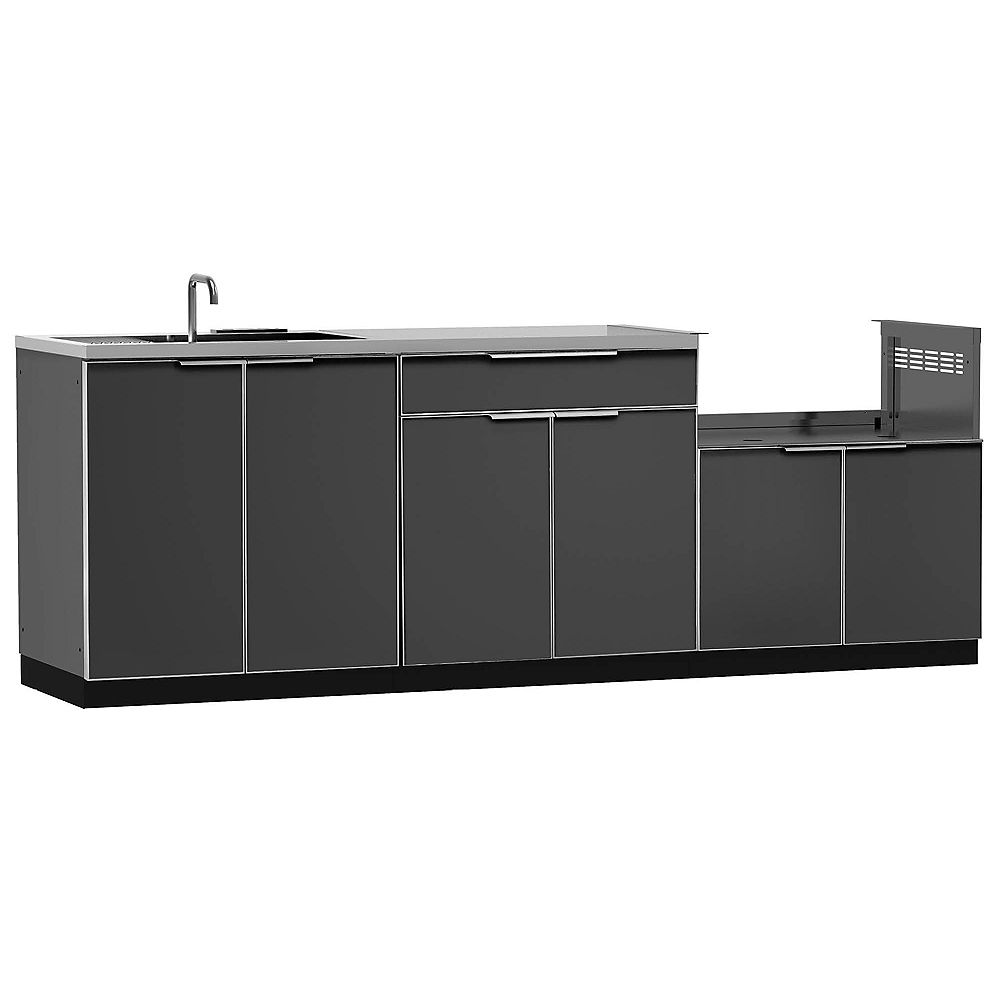 NewAge Products Outdoor Kitchen Cabinet 4-Piece Set in Slate Gray with Covers