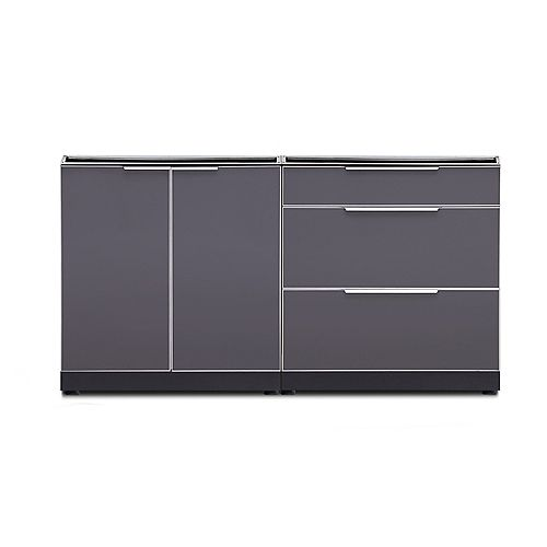 Outdoor Kitchen 2-Piece Cabinet Set in Slate Gray