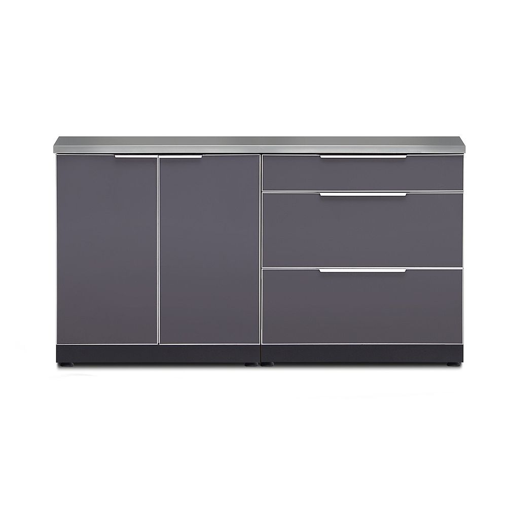 NewAge Products Inc. Outdoor Kitchen 3-Piece Cabinet Set in Slate Gray with Cover