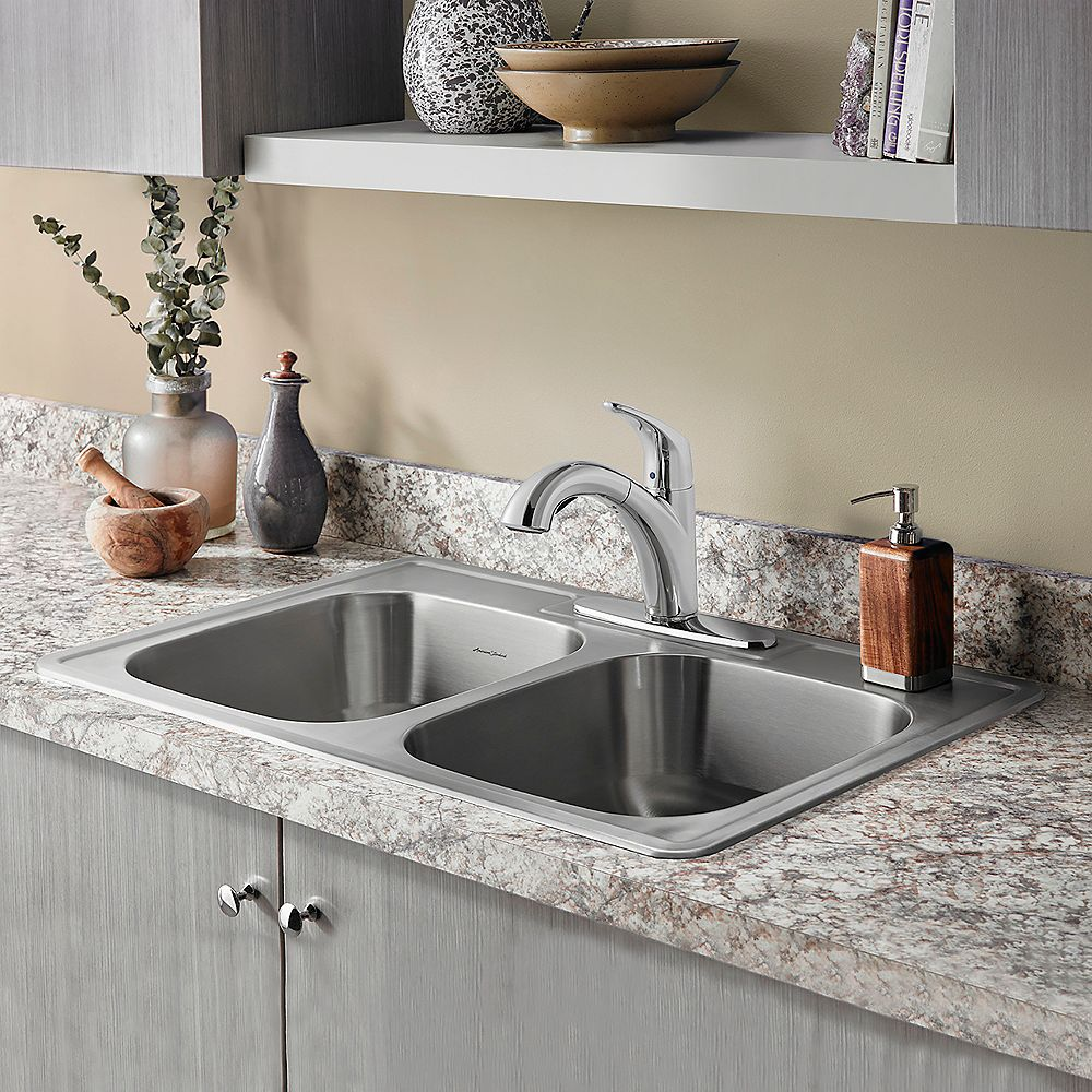 American Standard Colony 33x22-inch ADA Double Bowl Stainless Steel Kitchen Sink