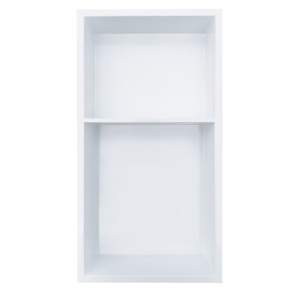 Jag Plumbing Products 12 inch x 24 inch Stainless Steel Shower Niche with 40/60% Shelf in Polished White