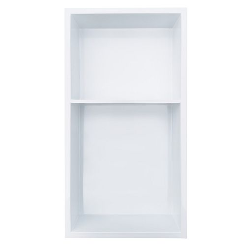 12 inch x 24 inch Stainless Steel Shower Niche with 40/60% Shelf in Polished White