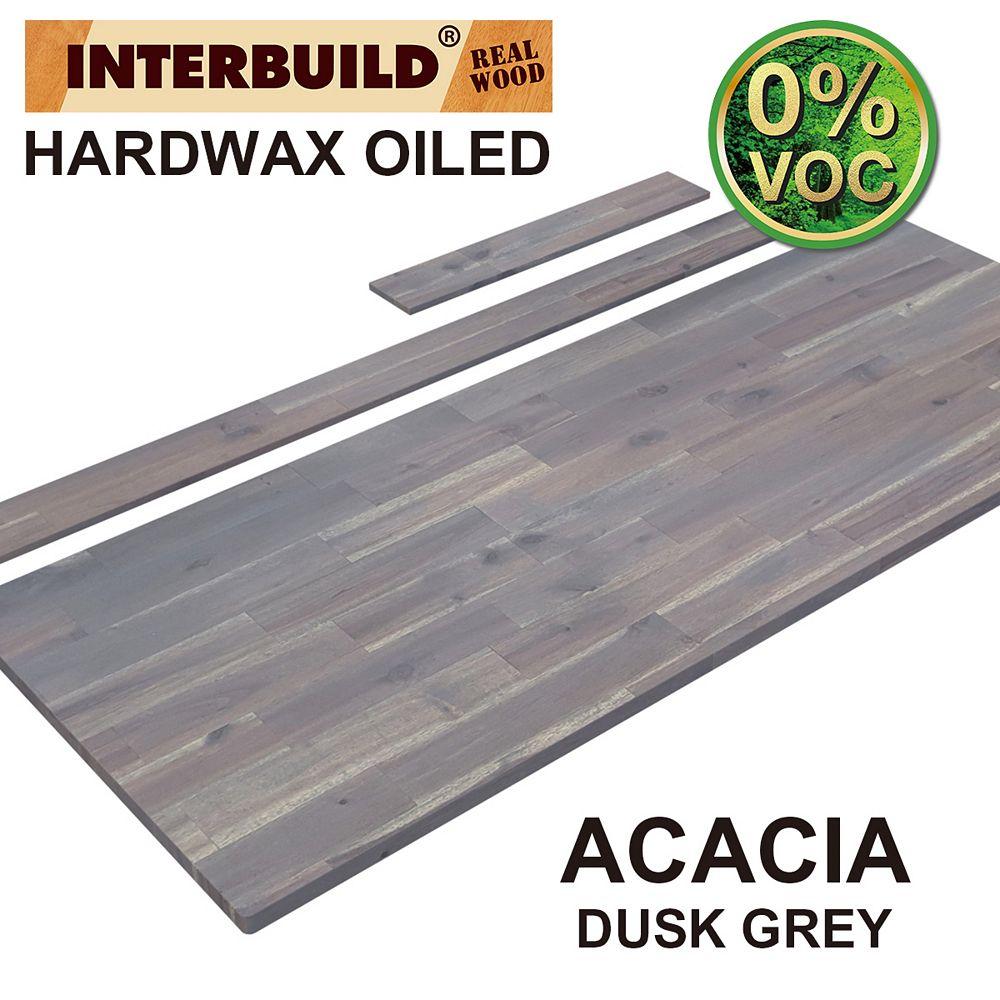 INTERBUILD 61 x 24 x 1 Acacia Vanity Countertop with Backsplash, Dusk Grey