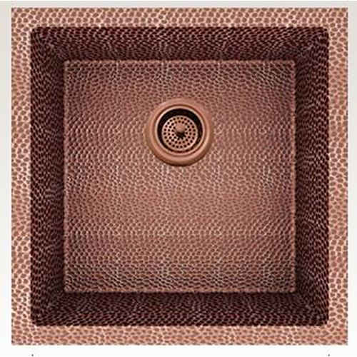 17-inch W Wall Mount Rose Copper Kitchen Sink and 16 Gauge in Rose Copper Color