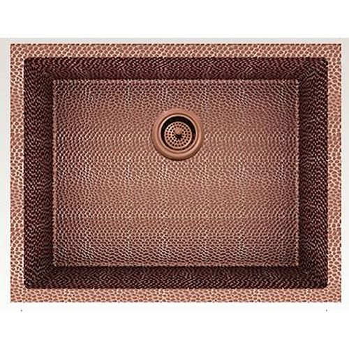 23-inch W Wall Mount Rose Copper Kitchen Sink and 16 Gauge in Rose Copper Color