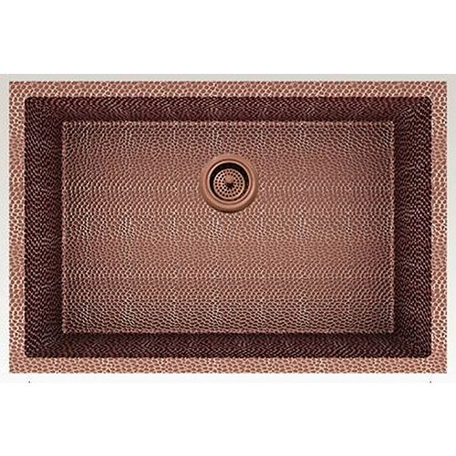 27-inch W Wall Mount Rose Copper Kitchen Sink and 16 Gauge in Rose Copper Color