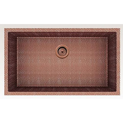 31-inch W Wall Mount Rose Copper Kitchen Sink and 16 Gauge in Rose Copper Color