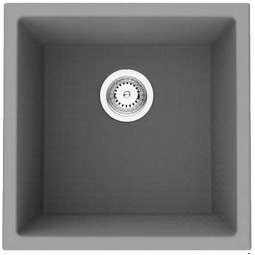17-inch W Wall Mount Black Granite Composite Kitchen Sink and 16 Gauge