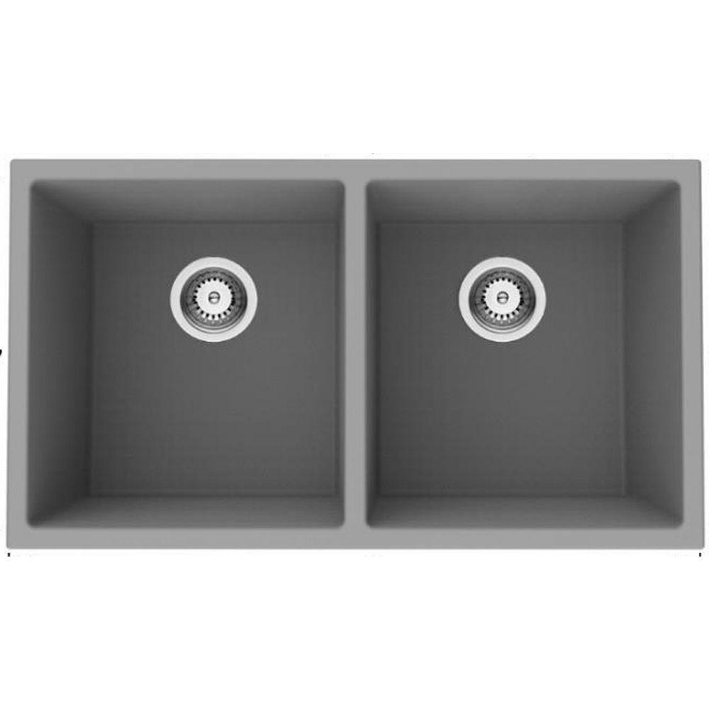 American Imaginations 32-inch W Deck Mount Black Granite Composite Kitchen Sink and 16 Gauge