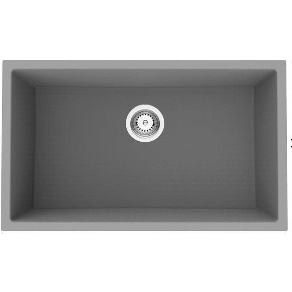 American Imaginations 30-inch W Deck Mount Black Granite Composite Kitchen Sink and 16 Gauge