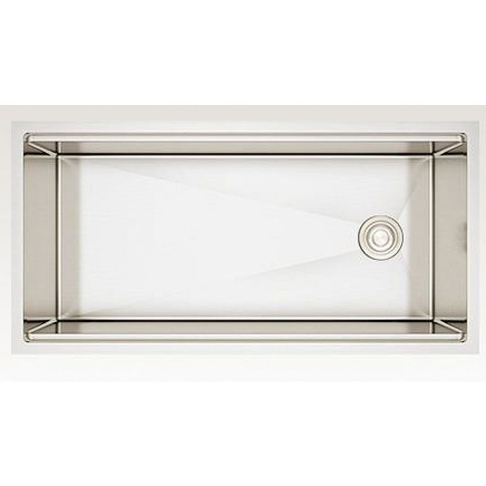 American Imaginations 38-inch W Wall Mount Stainless Steel Kitchen Sink and 16 Gauge in Stainless Steel Color