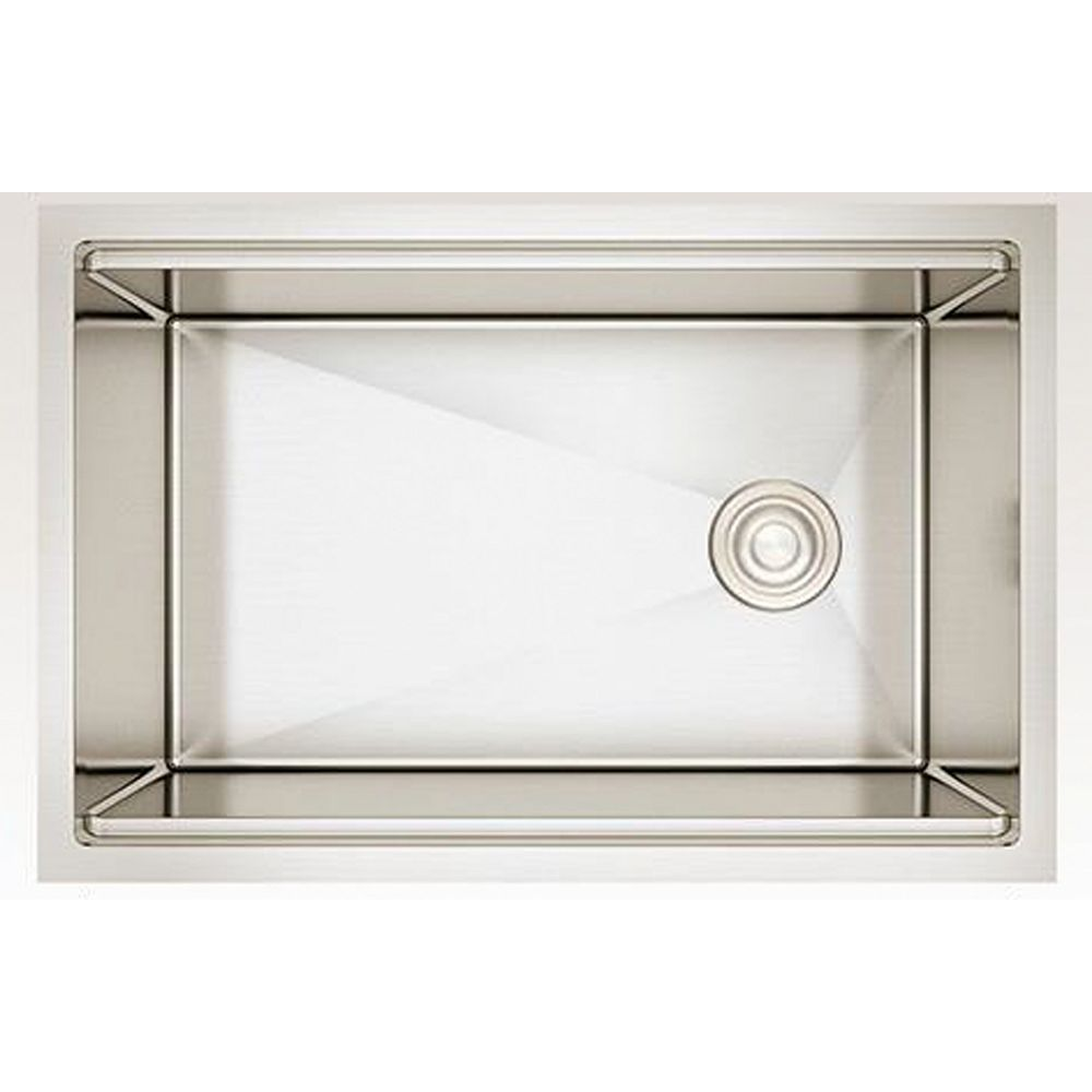 American Imaginations 27-inch W Wall Mount Stainless Steel Kitchen Sink and 16 Gauge in Stainless Steel Color