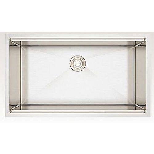 33-inch W Wall Mount Stainless Steel Kitchen Sink and 16 Gauge in Stainless Steel Color