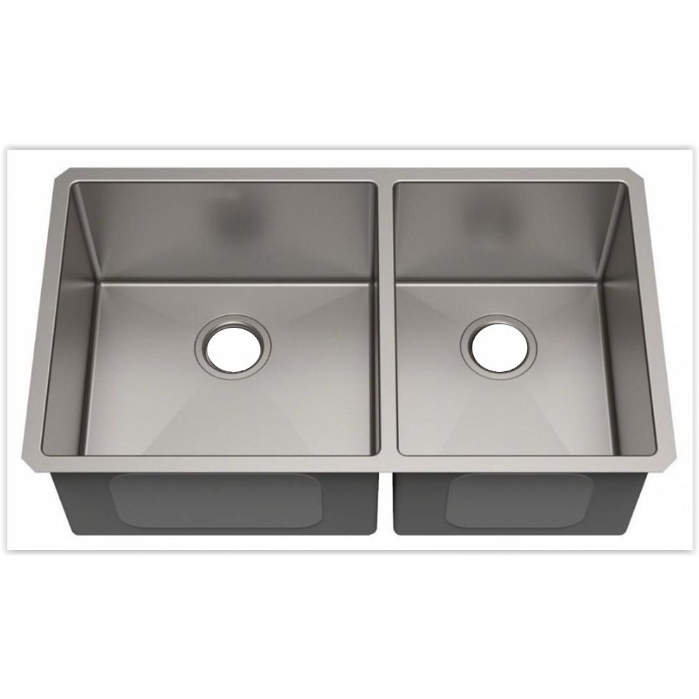 American Imaginations 29-inch W Wall Mount Brushed Nickel Kitchen Sink and 18 Gauge in Nickel Color
