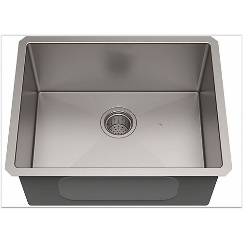 American Imaginations 23-inch W Deck Mount Brushed Nickel Laundry Sink and 18 Gauge in Brushed Nickel Color