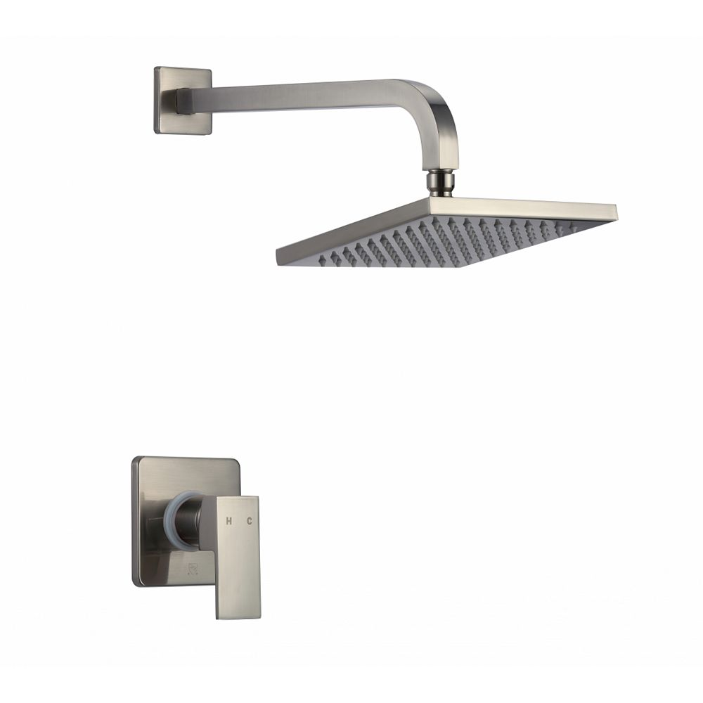 American Imaginations Wall Mount Stainless Steel Shower Kit in Brushed Nickel Color
