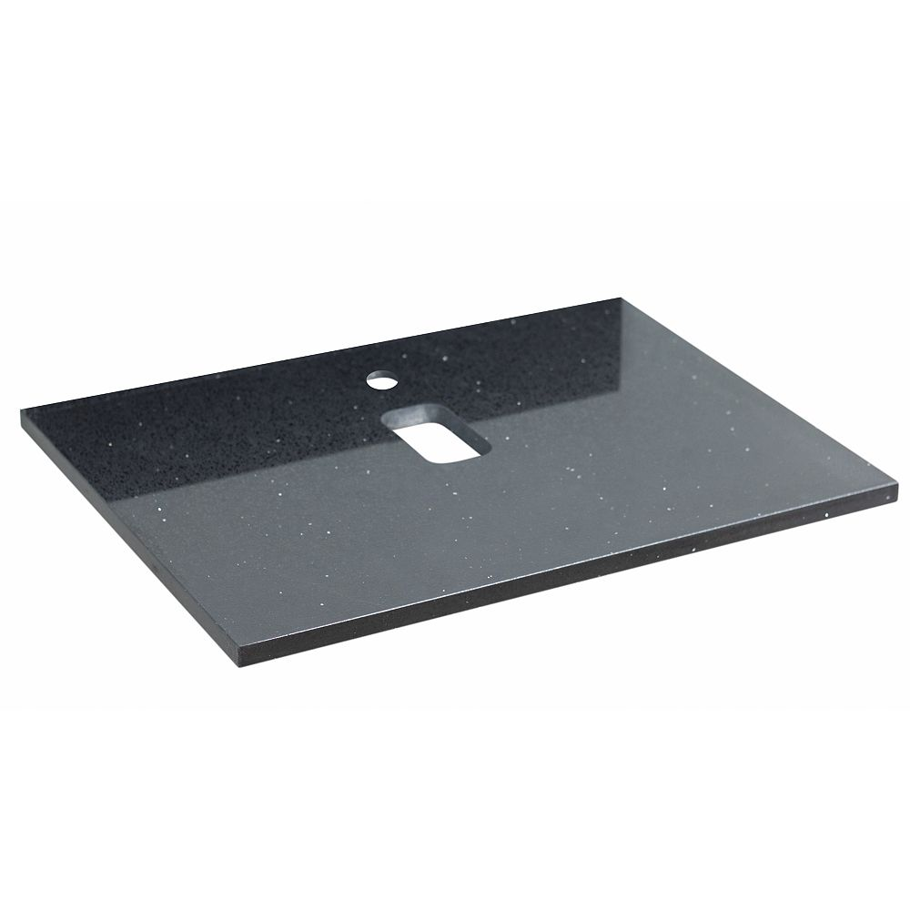 American Imaginations 24-inch W 18.3-inch D Stone Top in Black Galaxy Color for 1 Hole Faucet ( Xena Quartz )