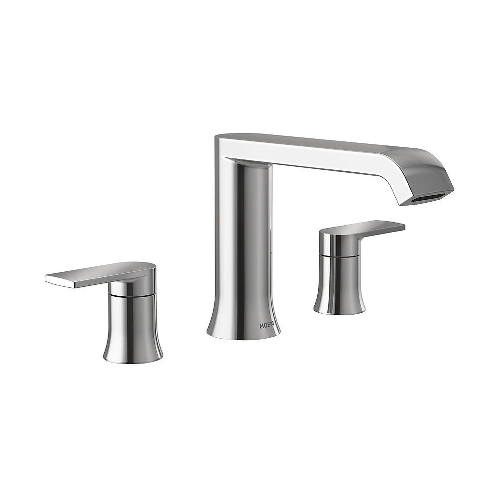 MOEN Genta 2-Handle Deck-Mount High Arc Roman Tub Faucet Trim in Chrome (Valve Sold Separately)
