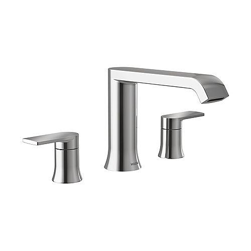 Genta LX Ensemble de garniture de robinet de baignoire romaine à arc élevé et à montage sur socle à 2 poignées en chrome (valve vendue séparément)