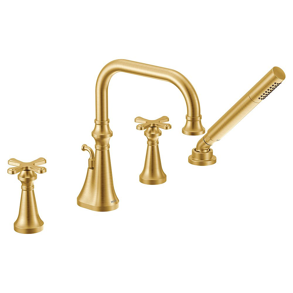 MOEN Colinet 2-Handle Deck-Mount Roman Tub Faucet with Handshower in Brushed Gold (Valve Sold Separately)