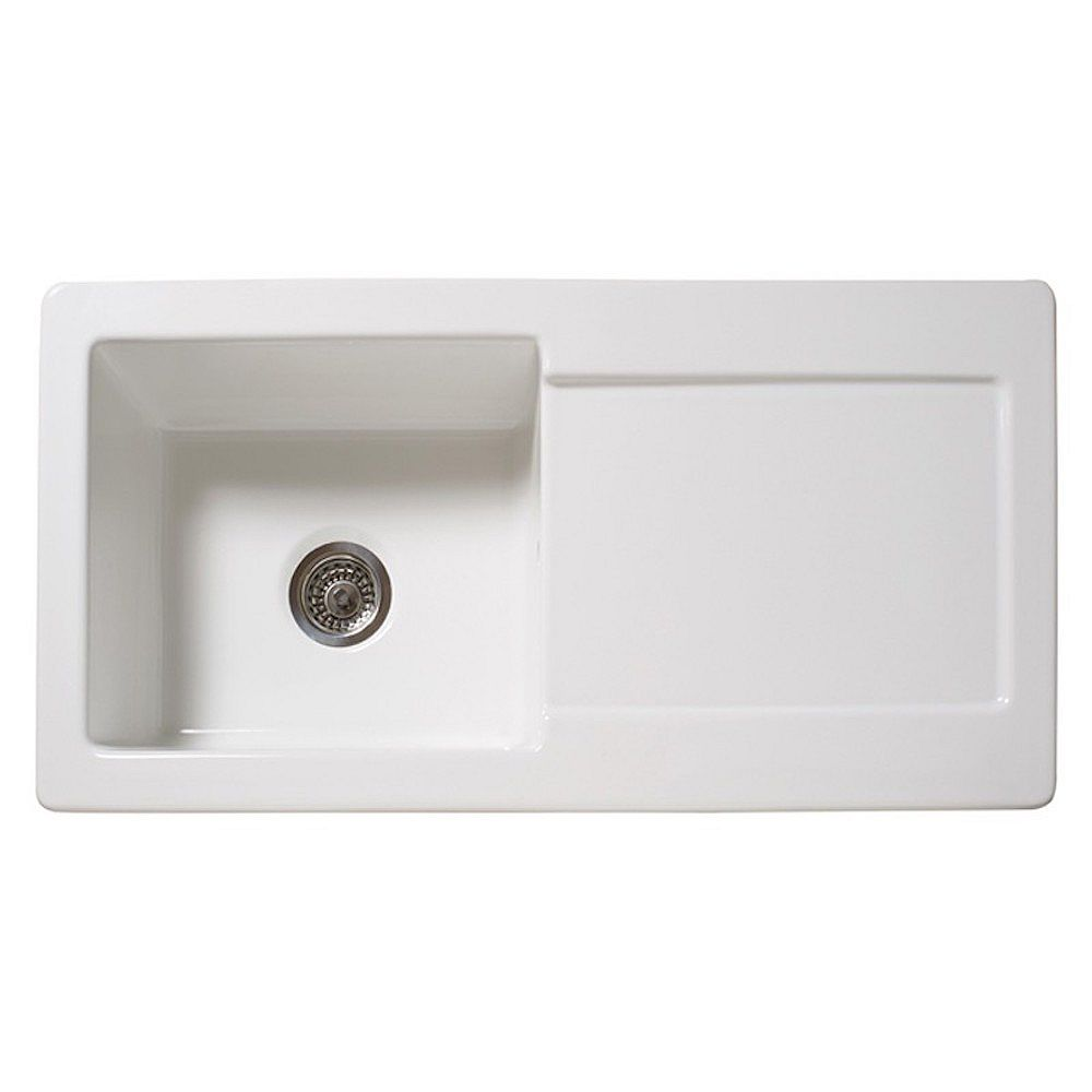 RGX Kitchen Products RGX RL 504CW White Ceramic Sink with Drainboard