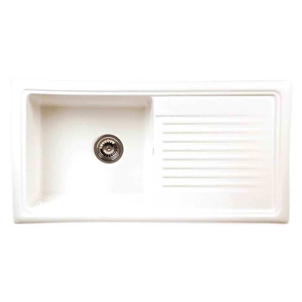 RGX Kitchen Products RGX RL 304CW White Ceramic Sink with Drainboard
