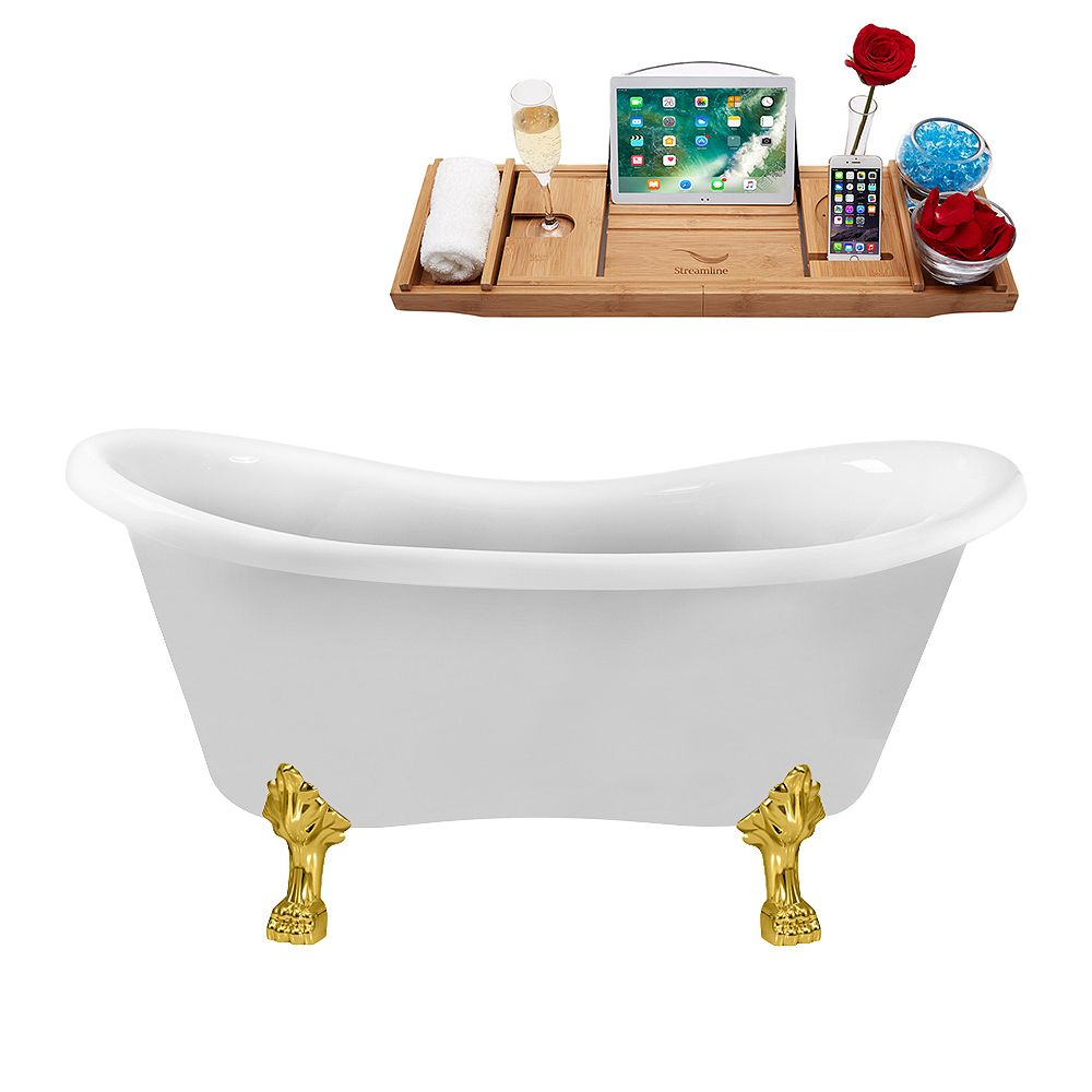 Streamline 62 inch Streamline N1020GLD-IN-WH Clawfoot Tub and Tray with Internal Drain