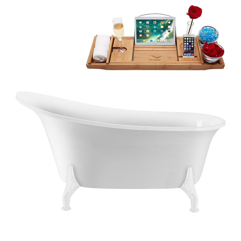 Streamline 59 inch Streamline N1100WH-IN-WH Clawfoot Tub and Tray with Internal Drain