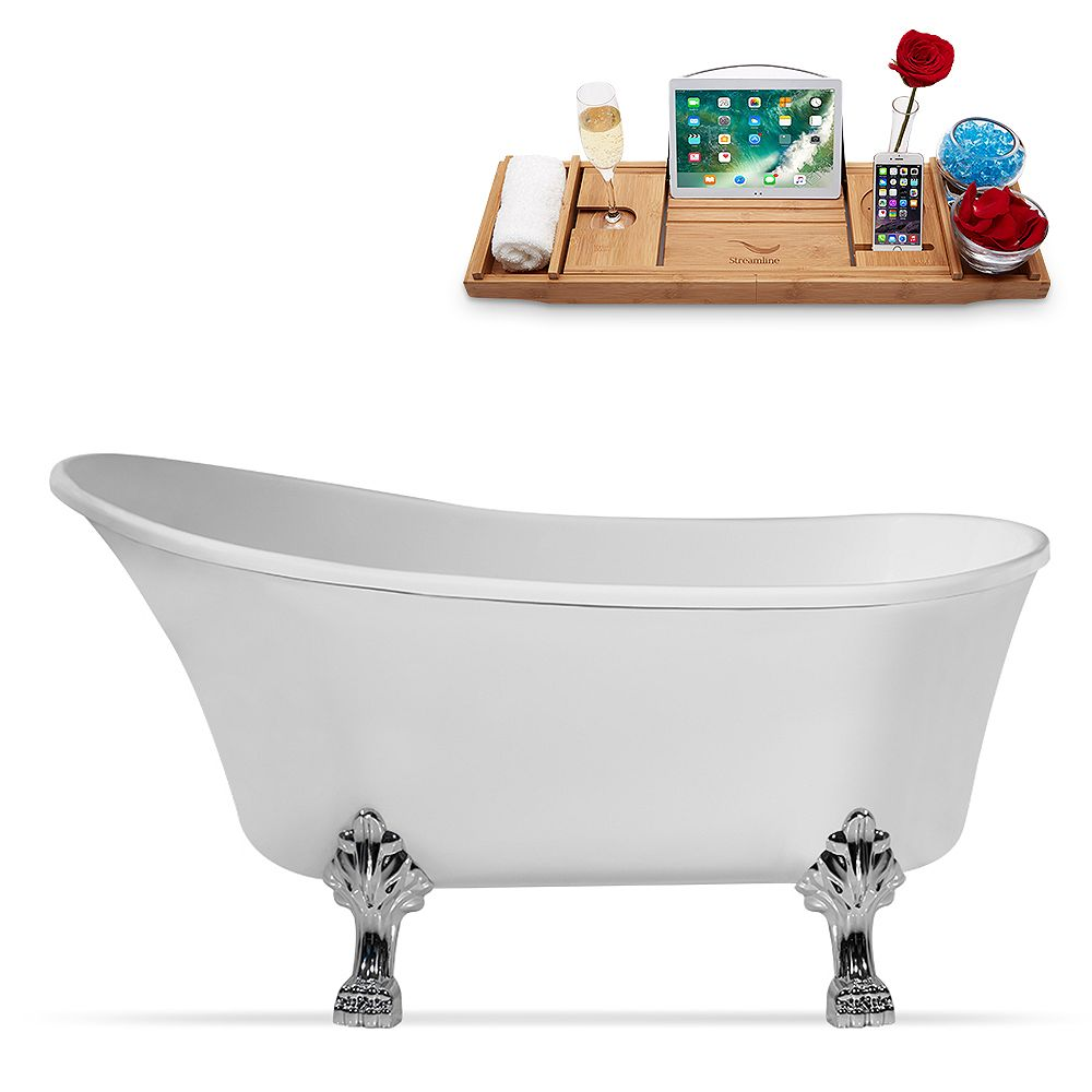 Streamline 59 inch Streamline N347CH-IN-BNK Clawfoot Tub and Tray with Internal Drain