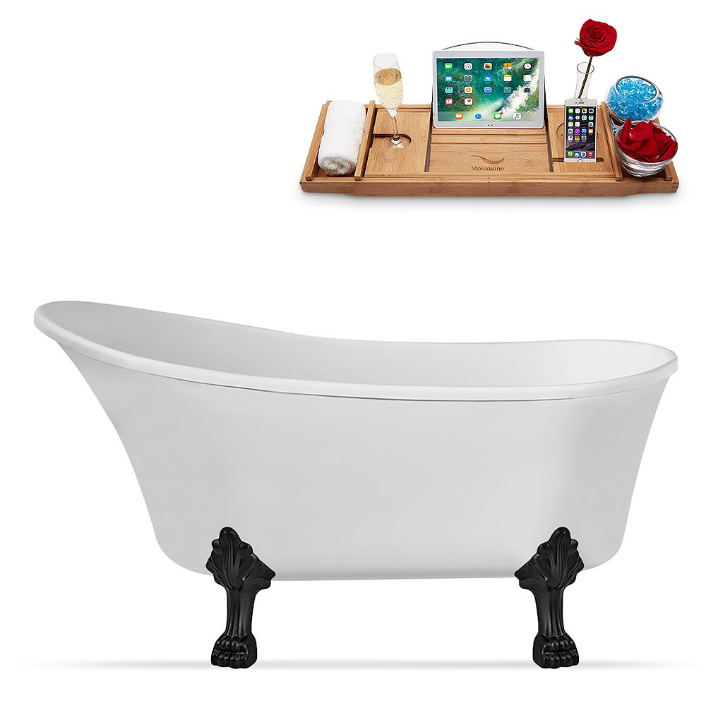 Streamline 63 inch Streamline N348BL-IN-ORB Clawfoot Tub and Tray with Internal Drain