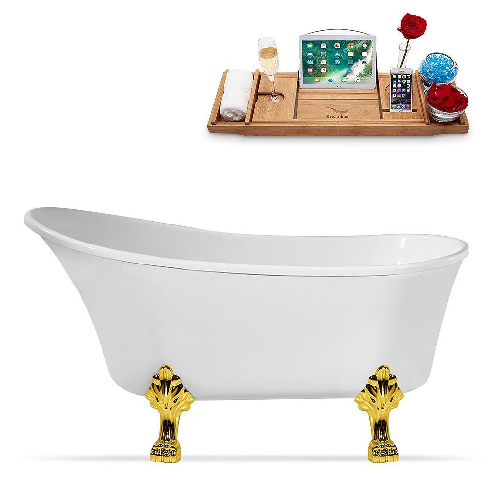 Streamline 63 inch Streamline N348GLD-IN-BL Clawfoot Tub and Tray with Internal Drain