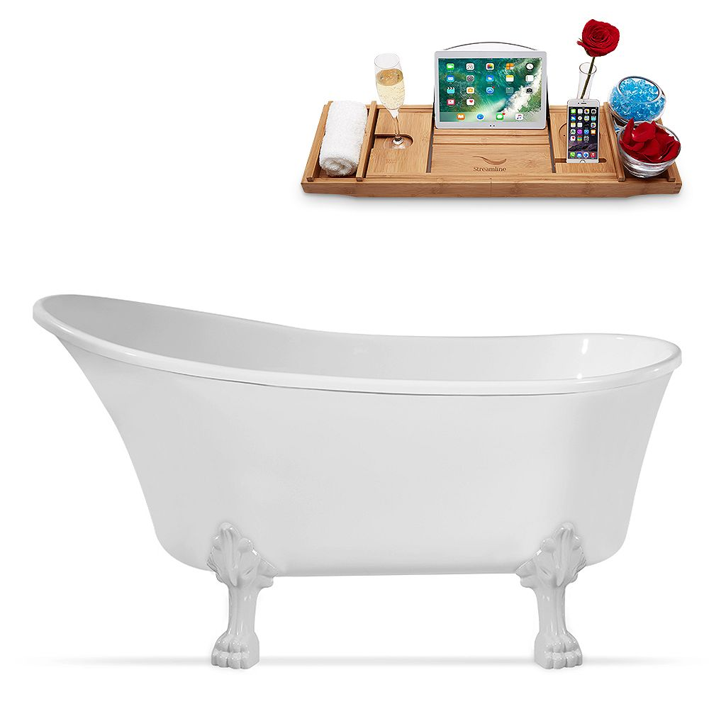 Streamline 63 inch Streamline N348WH-IN-WH Clawfoot Tub and Tray with Internal Drain