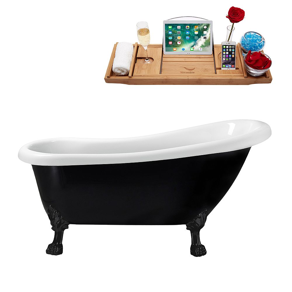 Streamline 61 inch Streamline N481BL-IN-WH Clawfoot Tub and Tray with Internal Drain