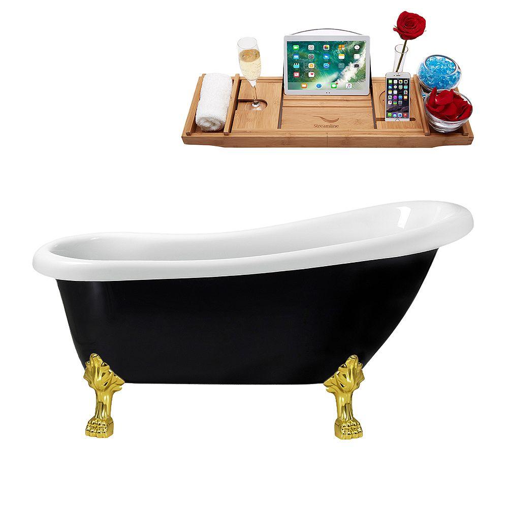 Streamline 61 inch Streamline N481GLD-IN-WH Clawfoot Tub and Tray with Internal Drain