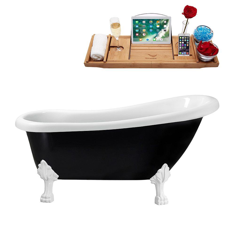 Streamline 61 inch Streamline N481WH-IN-BL Clawfoot Tub and Tray with Internal Drain