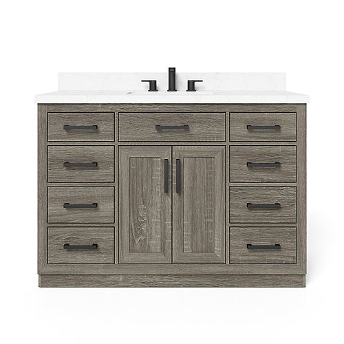 Home Decorators Collection Pittsford 48-inch W x 20-inch D Center Rectangle Basin Vanity Top in Jazz White Engineered Stone