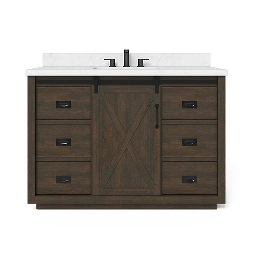 Hawkley 48-inch W x 20-inch D Center Rectangle Basin Vanity Top in White Engineered Stone