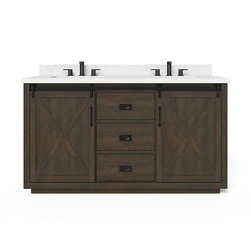 Hawkley 60-inch W x 20-inch D Center Rectangle Basins Vanity Top in White Engineered Stone