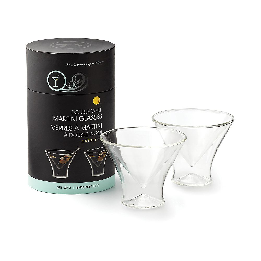 Outset Double Wall Stemless Martini Glasses, Set of 2