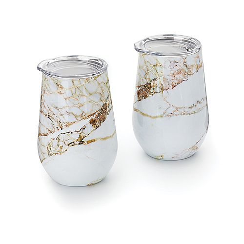 Double Wall Wine Glass Tumbler with Lid, Copper and White Marble Pattern, Set of 2