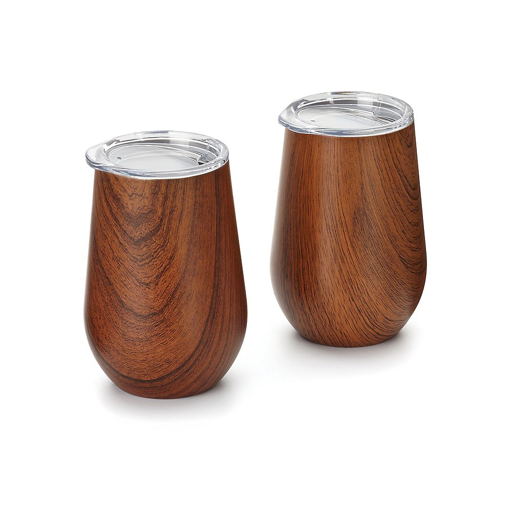 Outset Double Wall Wine Glass Tumbler with Lid, Wood Grain Pattern, Set of 2
