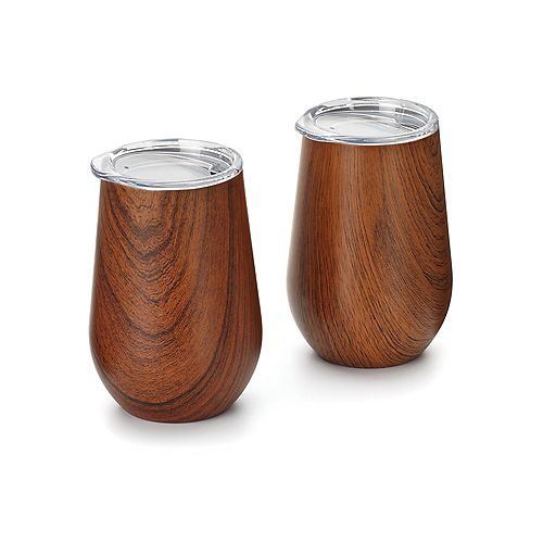Double Wall Wine Glass Tumbler with Lid, Wood Grain Pattern, Set of 2