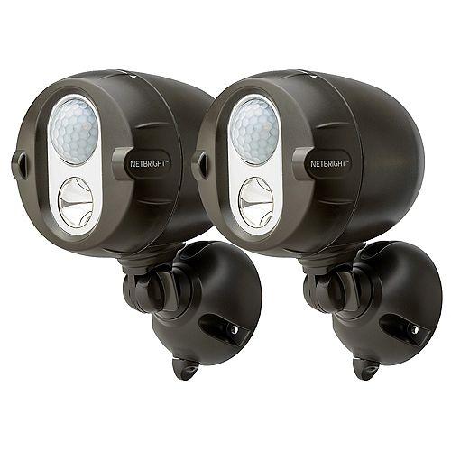 Projecteur LED à capteur de mouvement réseau intelligent NetBright sans fil - Paquet de 2 bruns
