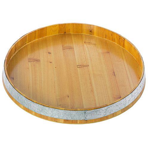 Large Barrel Head Decorative Storage Serving Tray