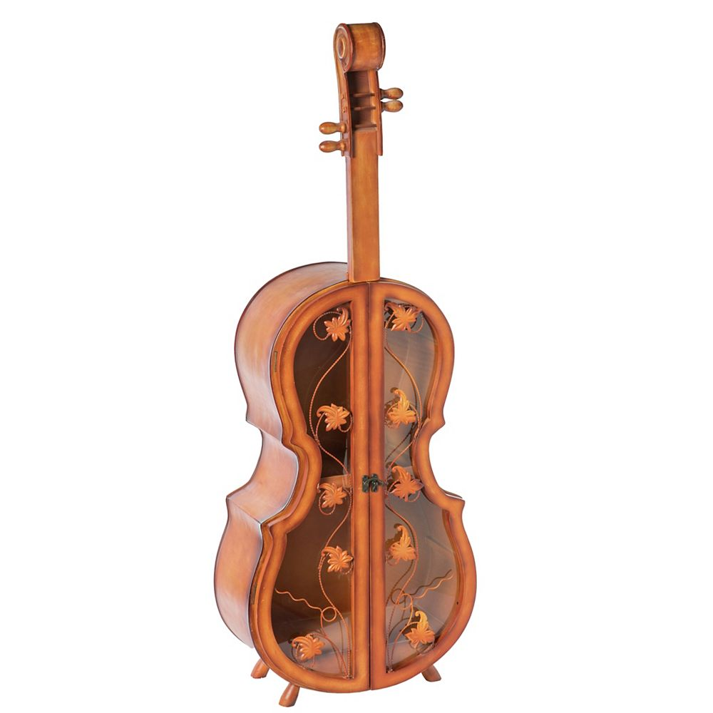 Vintiquewise 4.5 ft. Tall Violin Shaped Cabinet With 2 Shelf and Acrylic Clear Double Door