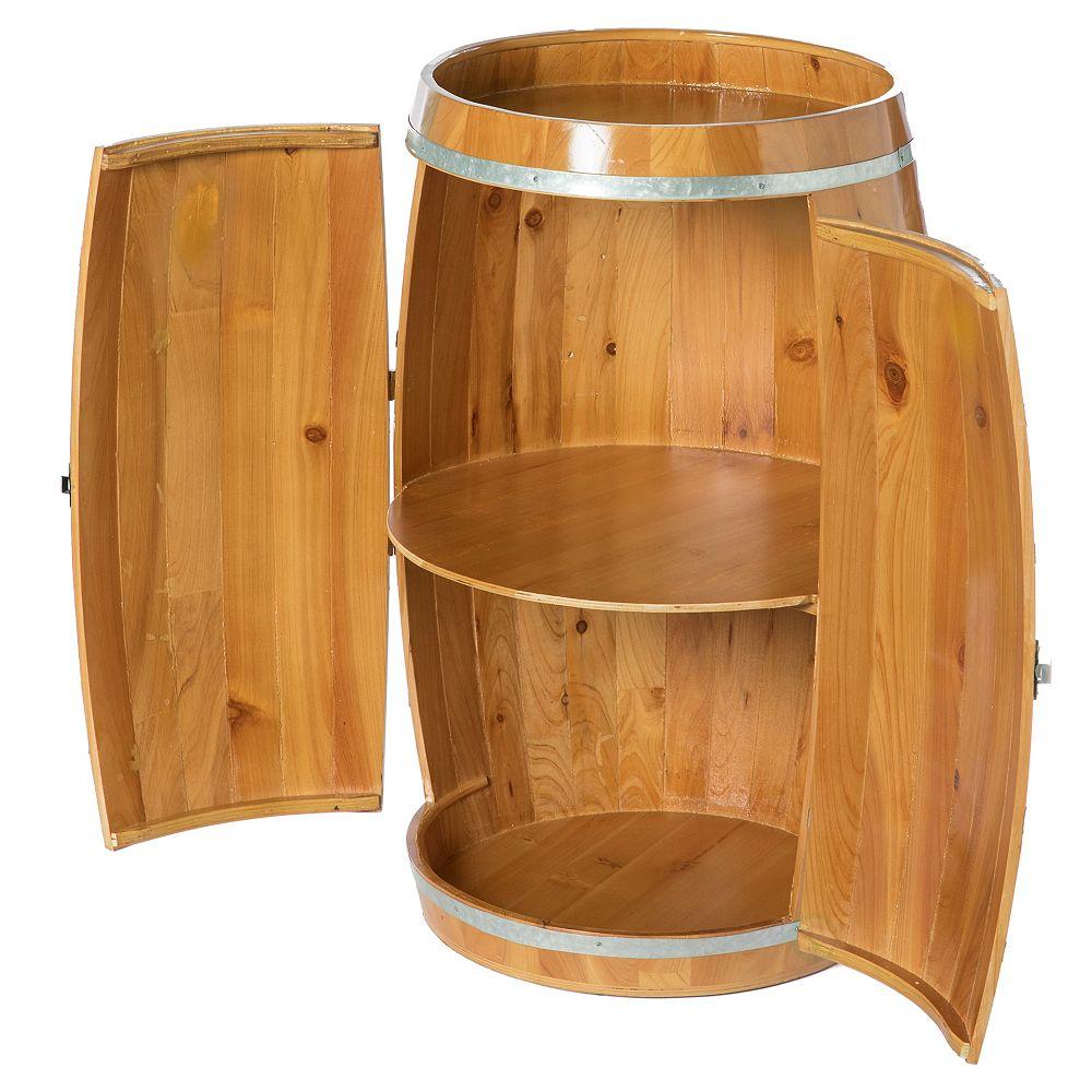 Vintiquewise Wooden Wine Barrel Shaped Wine Holder, Bar Storage Lockable Storage Cabinet